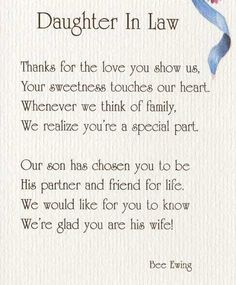 Wedding Shower Gifts For New Daughter In Law : Daughter In Law Poems DAUGHTER IN LAWAP79