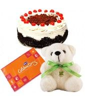 Love Bitten 1 Lb Kg) Black Forest Cake with Small Teddy and Cadbury celebration pack small gms Valentine Day Offers, Valentines Day, Love Bites, Black Forest Cake, Cake Online, Flowers Online, Wedding Anniversary Gifts, Flower Delivery