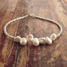 Keshi Freshwater Pearl Bracelet with Karen Hill Tribe Silver Beads, Weddding Jewelry, Maid of Honor Gift, Bridesmaid Gifts