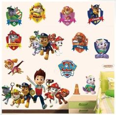 Dogs Cartoon Wall Stickers Paws Patrols Wall Decals Adesivos De Paredes Animal Mural Creative DIY For Kids Rooms Decor Paw Patrol Wall Decals, Paw Patrol Bedroom, Kids Wall Decals, Removable Wall Decals, Vinyl Wall Art, Cartoon Wall, Cartoon Dog, Love Stickers, Wall Stickers