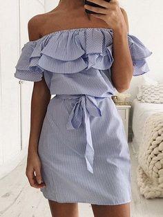 Blue Striped Off Shoulder Layered Ruffle Tie Waist Dress