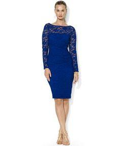 $87 T14 Verde Lauren Ralph Lauren Long-Sleeve Lace Illusion Dress
