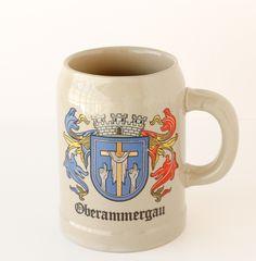 Vintage Stoneware Beer Mug Oberammergau Coat of Arms 1980s German Beer Mug, German Beer Steins, Corner Bar, Mug Display, Coat Of Arms, 1980s, Stoneware, Mugs, Antiques