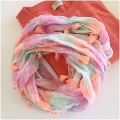 Tassel trim infinity scarf Adorable lightweight cotton scarf by AEO, perfect for spring! Great condition! American Eagle Outfitters Accessories Scarves & Wraps