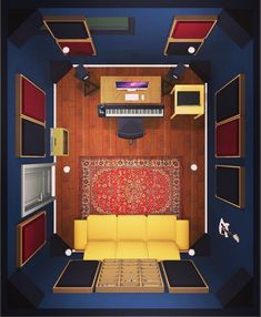 studio design New Music Room Home Studios Sound Proofing Ideas House-Painting Tips Seasons wreak hav Home Recording Studio Setup, Home Studio Setup, Music Studio Room, Studio Desk, Sound Studio, Basement Studio, Studio Interior, Audio Studio, Home Recording Studios