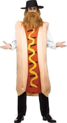 A great comical gag costume that will leave anyone who sees you hungry for more! Cloth-covered foam tunic looks like a grilled hot dog with mustard and comes with a rabbi hat with payis, and beard. Ad