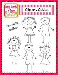Free clip art: FREE Clip Art Cuties stick kids.