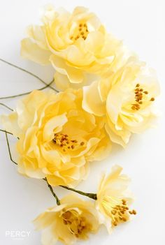 Yellow silk flowers by Percy Handmade | Hand-dyed fabric, watercolour effect