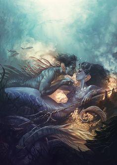Mermaid and merman Fantasy Mermaids, Mermaids And Mermen, Magical Creatures, Sea Creatures, Mermaid Pictures, Water Nymphs, Mermaid Art, Mermaid Paintings, Tattoo Mermaid