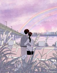 Myeong-Minho romantic couple illustrations