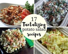 Who ever said potato salad had to be boring? You& never hear that again when you bring one of these 17 tasty potato salad recipes to your next bbq! Hot Potato Salads, Making Potato Salad, Loaded Potato Salad, Best Potato Salad Recipe, Ranch Potato Salad, Potato Recipes, Southern Style Potato Salad, Classic Potato Salad, Dinner Entrees