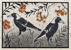 Magpie & Crucifix Orchid 38.5 x 56 cm Hand coloured linocut on handmade Japanese paer $1,000