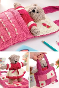 Knitting Pattern for Shirley Bear - Available again thanks to Deramore s This teddy bear toy comes with her own carrying bag that transforms into a bed for the baby bear to sleep in Designed by Val Pierce DK weight yarn A kit is also available Teddy Bear Knitting Pattern, Knitted Teddy Bear, Teddy Bear Toys, Baby Knitting Patterns, Free Knitting, Teddy Bears, Crochet Ideas, Knitted Doll Patterns, Tricot Facile