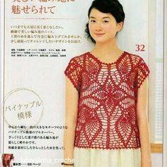 crochelinhasagulhas: Blusa vermelha em crochê