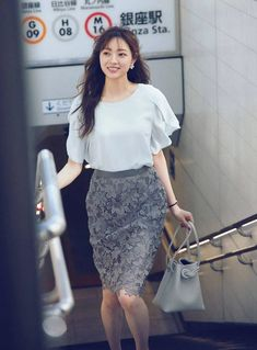 Fashion Now, Office Fashion, Skirt Fashion, Fashion Dresses, Womens Fashion, Cute Asian Girls, Cute Girls, Lace Skirt, Dress Skirt