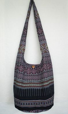 3e50606379 YAAMSTORE thai northern art graphic black hobo bag sling shoulder crossbody  hippie boho purse