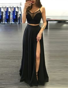Two Pieces Prom Dresses,Black Prom Dress,Sleeveless Prom Dress,Leg Split Prom Dress,Spaghetti Strap Prom Dresses,Sexy Prom Dress,Fashion Praty Prom Dresses