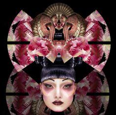 "Tulip Geisha Masque 16"" x 16"" Digital Painting by E.Trostli"