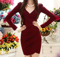 V-Neck Ruched Solid Color Long Sleeve Women's Bodycon Dress (WINE RED,M) | Sammydress.com