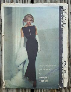 Vintage Rare 50s 1950s McCall 4258 Pauline Trigere Evening Gown Sewing Pattern Bust 34 Vogue