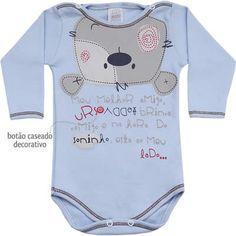 Body Bebê Menino Urso Teddy Manga Longa Azul - Patimini :: 764 Kids | Roupa bebê…