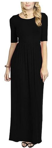 Women's 3 4 Sleeve Solid Plus Maxi Long Dress with Elastic Waistband