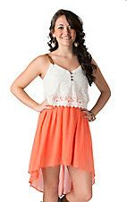 Double Zero Women's Coral Chiffon with White Lace and Leather Straps Hi-Lo Sleeveless Dress