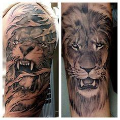 I like the lion tattoo on the right. Artist Freddy Negrete #shamrocksocialclub