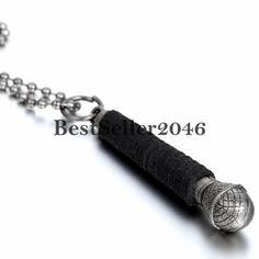 Herren Halskette Retro Mikrophon Mikrofon Anhänger mit Kugel Kette Leder Silber