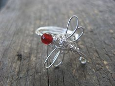 Crossley Design--Sterling silver wire wrapped dragonfly ring with cornelian