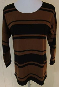 Coldwater Creek Women's Size XS 4-6 Brown Black Striped 3/4 Sleeve Top New/WOTag #ColdwaterCreek #KnitTop