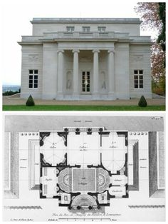 Madame du Barry's Music Pavilion at Louveciennes Neoclassical Architecture, Vernacular Architecture, Classic Architecture, Architecture Plan, Residential Architecture, Building A Small House, Vintage House Plans, Georgian Homes, House Blueprints
