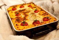 Rotsaksfiskgratäng med feta och fräst spenat Lchf, Quiche, Feta, Mashed Potatoes, Paleo, Breakfast, Ethnic Recipes, Whipped Potatoes, Morning Coffee