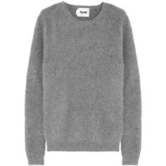 Acne Rakel angora-blend sweater (€215) ❤ liked on Polyvore featuring tops, sweaters, jumpers, shirts, grey jumper, grey ribbed sweater, shirt tops, ribbed sweater and ribbed shirt