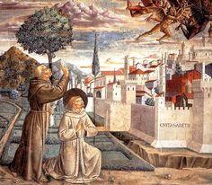 Episódio do exorcismo de Arezzo, retratado por Benozzo Gozzoli.