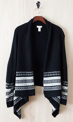 Snuggle up on chilly evenings with this cozy cardigan. A drape-y open front in a medium weight knit offers many possibilities. Wear it with colored jeans for a simple yet bold look.