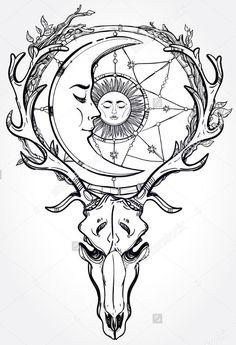 Эскиз ловца снов с черепом оленя и полумесяцем