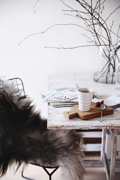 Sheep skin. Morning coffee. Ceramic mug.