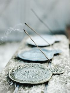 Could made these incense holders with air dry clay. Also could trace a mandala on it somehow ...