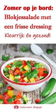 Gezond, kleurrijk, zomers, makkelijk én erg lekker: een blokjessalade met komkommer, tomaat en paprika! En een heerlijk frisse dressing met verse basilicum. Een traktatie voor het hele gezin. Kinderen vinden dit heerlijk! Ideaal bij de BBQ.  #salade #gezond #gezondrecept #saladerecept #blokjessalade #komkommer #tomaat #paprika #zomersalade #bbq #culinairebagage #kokenvoorkinderen #kokenmetkleur #etentjemetvrienden #bijgerecht Salsa, Bbq, Mexican, Lunch, Ethnic Recipes, Food, Salads, Tomatoes, Barbecue