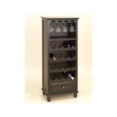 Wood Espresso Wine Rack with Drawer Holds Glasses and 16