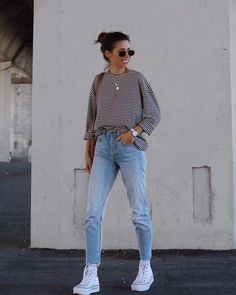 If we are talking about a vacation or a short term trip,., If we are talking about a vacation or a short term trip, I always put at least one of my jean outfits to my suitcase. High Top Converse Outfits, White High Top Converse, White High Tops, Casual Fall Outfits, Simple Outfits, Trendy Outfits, Cute Outfits, Fashion Outfits, Hijab Casual