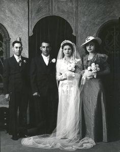 Wedding party group portrait, 1925 Albuquerque - Albuquerque Museum Photo Archives - CONTENTdm Title Albuquerque Museum, Valley College, College Library, Body Adornment, Photo Archive, Culture, Weddings, Group, Portrait