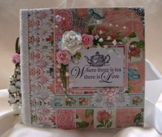 "TPHH Sharon Chipboard Graphic 45 Botanical Tea Premade Photo Scrapbook 8"" x 8"" 