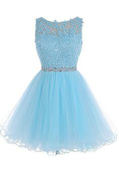 Scoop Short Blue Zipper-up Tulle Homecoming Dress,Prom Dress,Graduation Dress,Party Dress,Short Homecoming Dress,Short Prom Dress,Homecoming Dress 2016