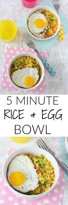 Whip up a quick and tasty meal for the kids in 5 minutes with just 3 simple ingredients with this Vegetable Rice & Egg Bowl. Healthy Family Meals, Healthy Meals For Kids, Quick Meals, Healthy Cooking, Kids Meals, Healthy Recipes, Toddler Meals, Toddler Food, Toddler Recipes