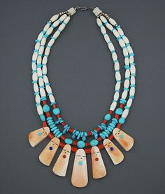 3 strand necklace of turquoise, bone, and coral beads with shell Corn Maidens by Jovanna Poblano