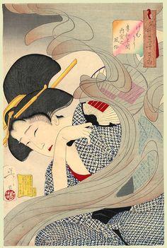 1888 - Yoshitoshi - Looking Smoky: Habits of a housewife of the Kyōwa era - 32 Aspects of Women,