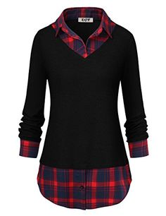 DJT Women's Classic Collar Curved Hem 2 in 1 Knit Pullover Plaid Contrast T-Shirt Top Plaid Tunic, Tunic Blouse, Shirt Blouses, Tunic Tops, T Shirt, Plus Size Shirts, Plus Size Blouses, Como Fazer Short, Shirt Collar Styles