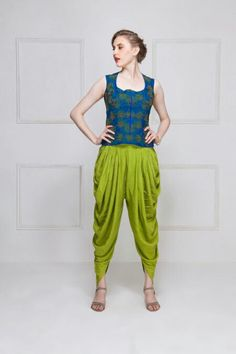 HOUSE OF OMBRE Blue & green embroidered vest top with green dhoti pants Salwar Designs, Blouse Designs, Indian Dresses, Indian Outfits, Fashion Pants, Fashion Outfits, Mehendi Outfits, Indian Designer Outfits, Mode Hijab